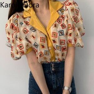 2020 verão New Chic Botões Soltos Fina Micro-puff Luva Imprimiram a Camisa Casacos Do Vintage Turn-down Collar Casual mulheres Blusa