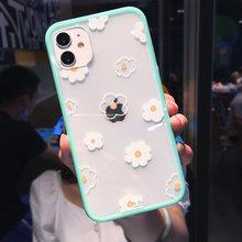 Kwiaty miłość serce cukierki kolor etui na telefony dla iPhone 11 12 Pro Mini 8 7 Plus X XR XS Max SE2020 kwiatowy przezroczysty miękki TPU tylna okładka tanie tanio CN (pochodzenie) Transparent Candy Color Fashion Flower Love Heart Pattern Design Apple iphone ów iPhone 11 Pro Max IPHONE 8 PLUS
