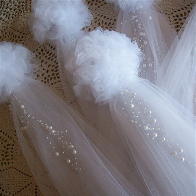 4pcs Pom Pew Bows, Tulle And Pearl Bows, Church Pew, Pew Bows Quinceanera Decorations, Chair Hangers, Wedding Decoration Bridal