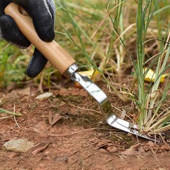Pielenie ze stali nierdzewnej dziedziniec trawnik pielenie Digger uchwyt łopata widelec narzędzie ogrodowe rękojeść z drewna ręczne wycinarka do usuwania pielenia tanie i dobre opinie CN (pochodzenie) Z tworzywa sztucznego Universal Cutters Bypass Weeder 10cm-14 9cm Not Coated Anti-Slip Grip Durable Forked