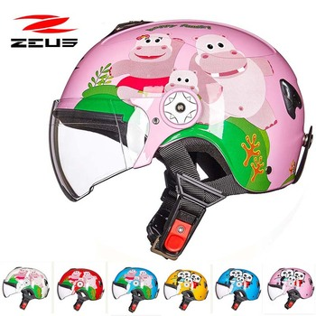 Sweet pink children Kick scooter motorcycle ZEUS helmet Boys girls MOTO electric bicycle  helmets for child kids S M red blue