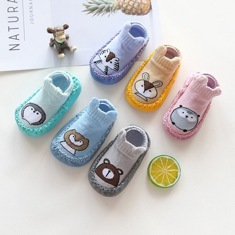 Toddler Girls Boys Socks Infant Warm Slip-resistant Cartoon Faux Leather Floor Walking Socks Cotton Autumn Winter Kid Baby Socks