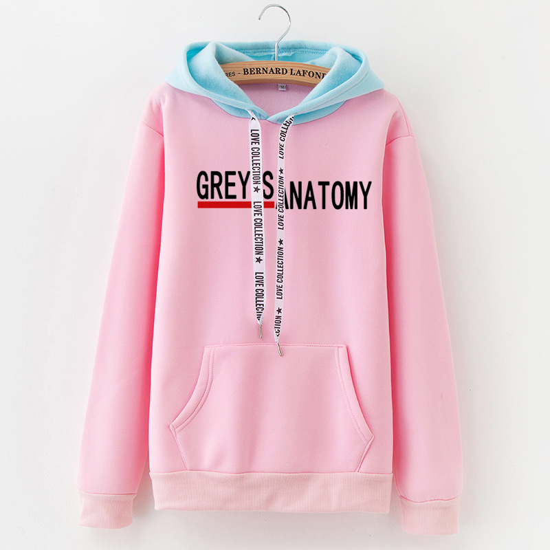 New Women's Stitching Winter Fleece Hoodies Pocket Sweatshirt Letters Greys Anatomy Loose Korean Version Tops