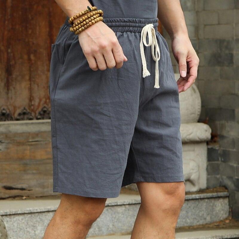 New Hot Summer Men Shorts Casual Imitation Cotton Linen Plus Size High Waist Shorts Fashion Short Pants Streetwear