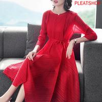 Miyake Pleated Dress 2020 Spring New Style Loose And Plus sized Red Pleat Dress Women's clothes elegant dresses