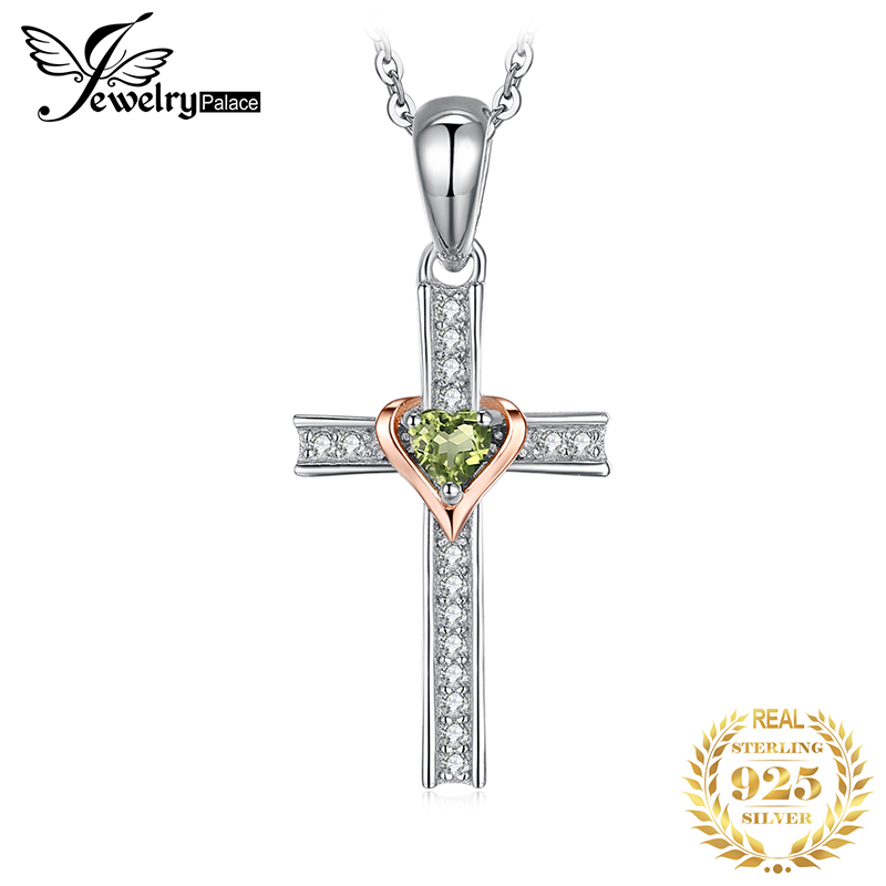 JPalace Cross Lover Natural Peridot Pendant Necklace 925 Sterling Silver Gemstone Necklace Without Chain