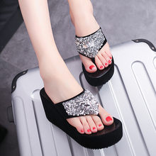 Zomer Slippers vrouwen Sexy Rhinestone Wedge Slippers Fashion Clip-teen Strand Schoenen Sequin Slippers Schoenen Vrouw Sapato #20(China)