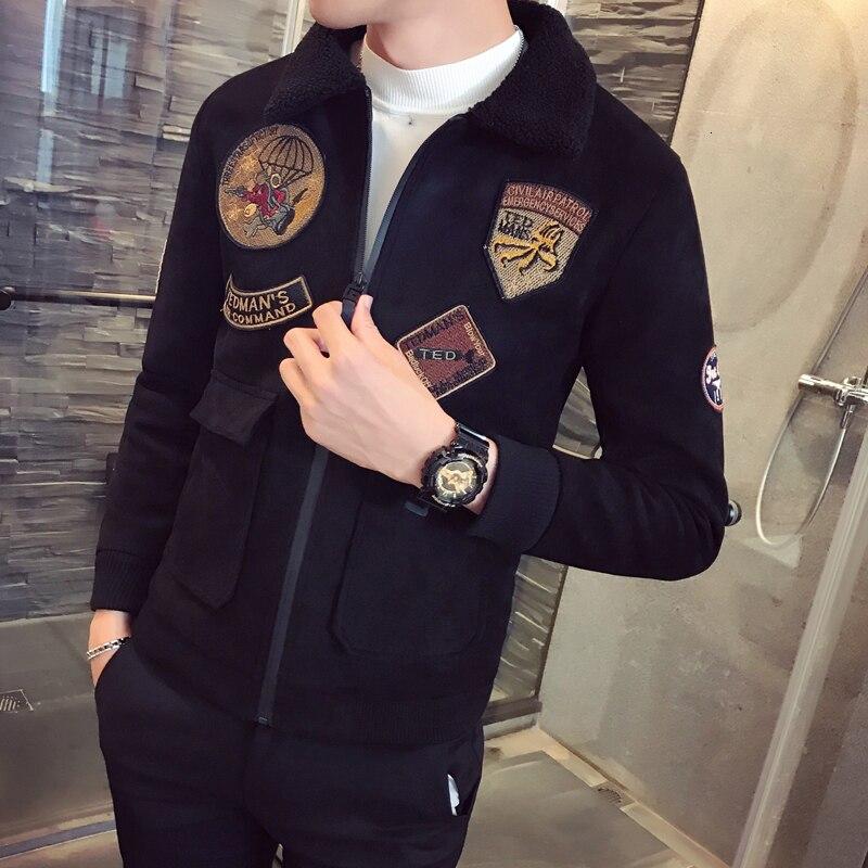Manteau en daim épais hommes vestes hommes col de fourrure Erkek kaki hiver Slim Fit Parka velours Bomber vestes hommes pilote vestes - 2