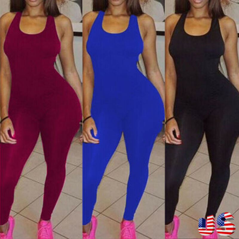 THEFOUND Fashion Women Jumpsuit Casual Solid Color Jumpsuits Sports Jumpsuit Playsuit Ladies Workout Sports Gym Bodysuit