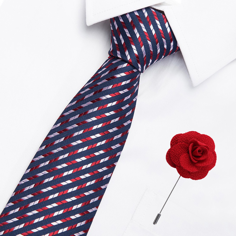 50 Styles Men's Brooch Ties Set 7.5 Cm Jacquard Dot Necktie Formal Dress Accessories Cravat Wedding Party Mens Classic Ties