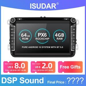 Isudar PX6 Android 2 Din Car Radio For Volkswagen/VW/Passat/POLO/GOLF/Tiguan Skoda/Octavia Seat/Leon GPS Auto DVD Player carplay