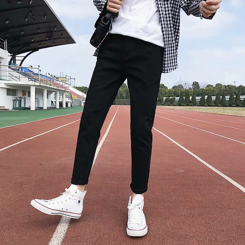 Korean-style Men Pure Black Jeans Autumn And Winter Skinny Pants Men's Fashion Casual Students Slim Fit Pencil Trousers