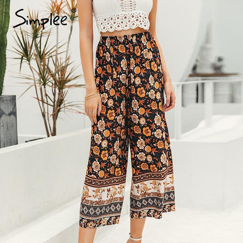 Simplee Boho Vintage Print Long Women Summer Pants Bohemian Wide Leg Loose Pants Trousers Floral Holiday Beach Female Pants 2020