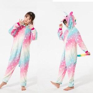 Image 3 - Winter Boys Stitch Pajamas Kids Cosplay Stitch Pyjamas Sleepwear Oneise Girls Unicorn Pajama Kigurumi Pijamas for 4 12Yrs