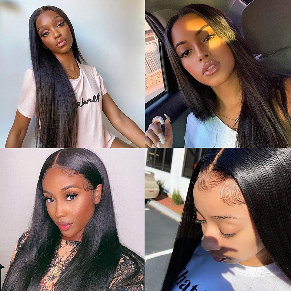 Straight Lace Closure Wigs 4x4 Frontal Wig  Wigs With Baby Hair  150% density Front  Wigs 3