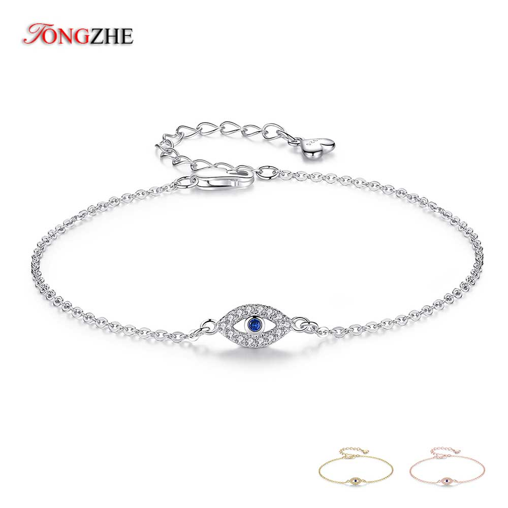 TONGZHE Women 925 Sterling Silver Bracelets CZ Evil Eye Bracelet Lucky Turkey Jewelry For A Couple Bracelets for Women Pulsera|Bracelets & Bangles|   - AliExpress