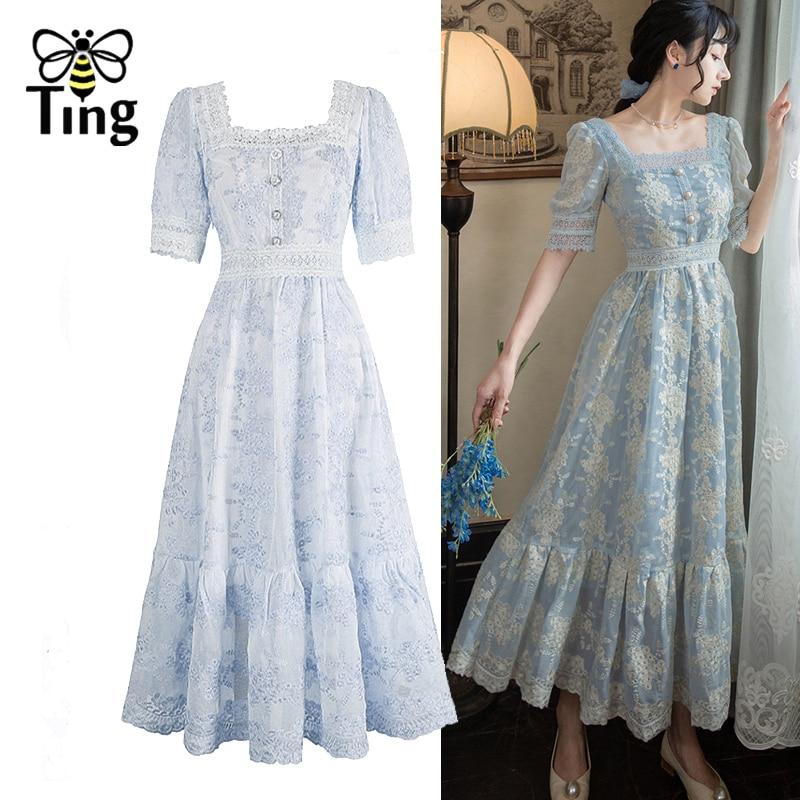 Tingfly Sweet Soft Girl A Line Dress Summer Lace Embroidery Button Decor Party Dresses Casual Street Boho Vestido Midi Feminino|Dresses| - AliExpress