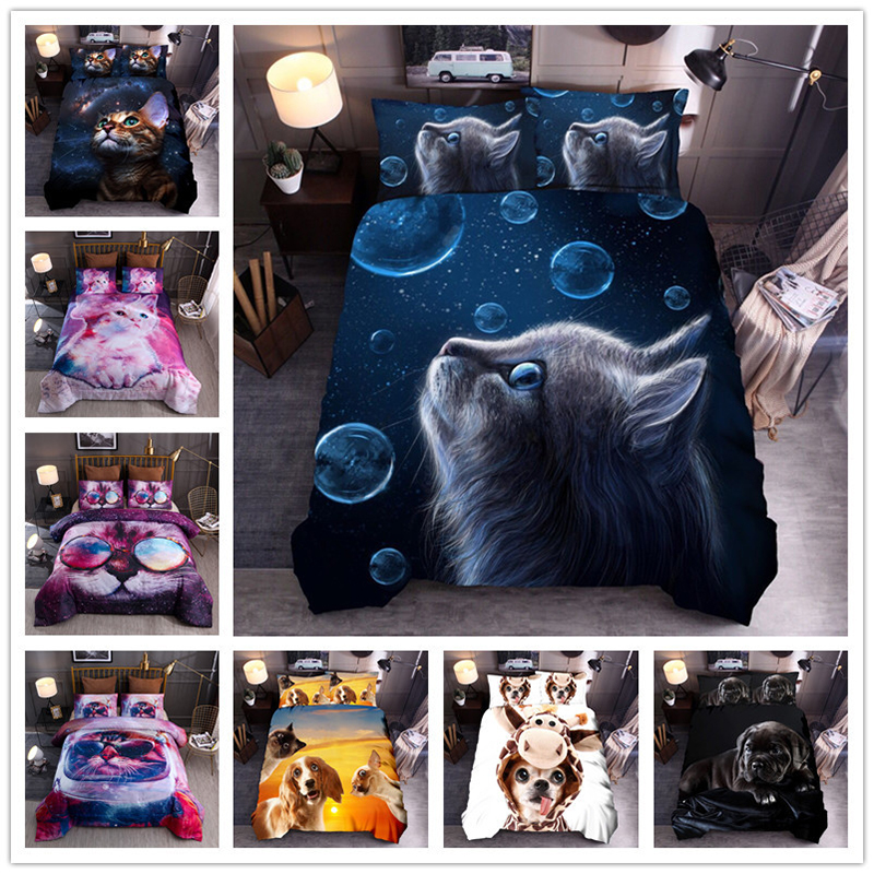 CANIRICA Bedding Set 3d Bedding Set Comforter Bedding Sets Cat Duvet Cover Set King Size Bedding Set Pillowcases Home Decorative