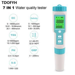 Novo 7 em 1 ph/tds/ec/orp/salinidade/s. G/medidor de temperatura C-600 qualidade da água monitor tester água potável, aquários medidor de ph