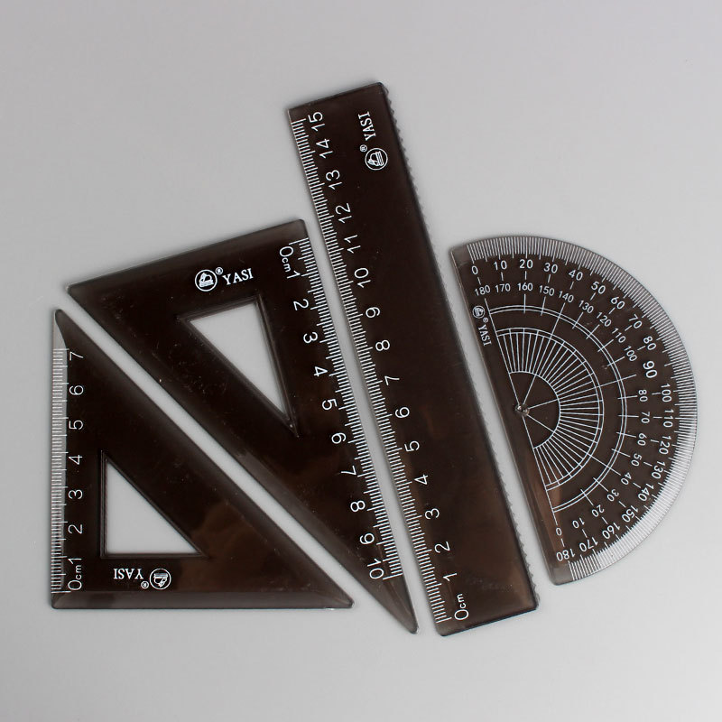 INS-Style Students Only Ruler Sets Creative Simple Multi-functional Candy-Colored Four-piece Set Ruler Triangle Ruler Hui Tu Chi
