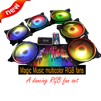 Magic multicolor music RGB fan set 12cm inside and outside circle led cooler Computer PC Case Fan RGB Quiet fan with sync
