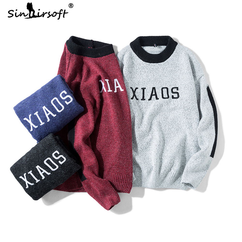 New Arrival Men 39 s Letter Printing Pullover Sweater Side Triped Patchwork Long Sleeve Autumn Warm Top Clothing Autumn Fashion 3XL in Pullovers from Men 39 s Clothing
