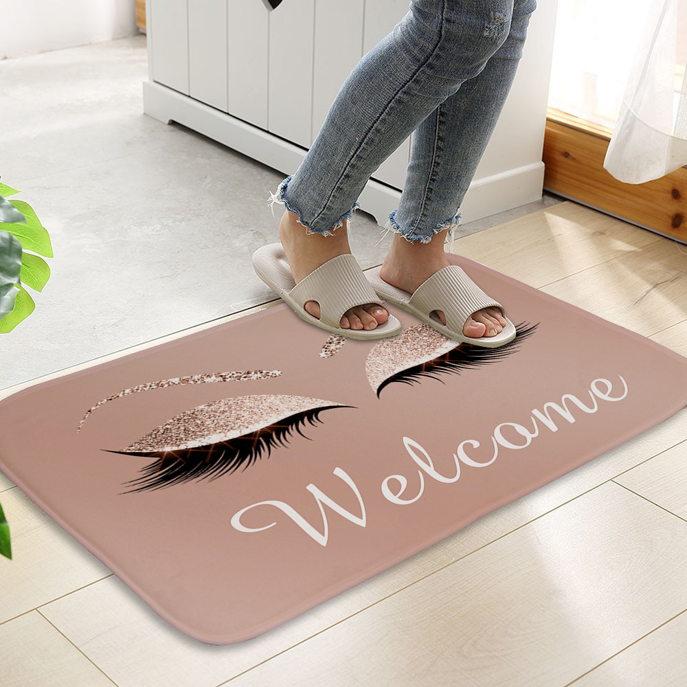 Anti-slip Absorb water Bath mat  Cartoon eyelash Bathroom kitchen bedroon floor mat Entrance Rugs kids prayer mat 40*60cm 0050 2