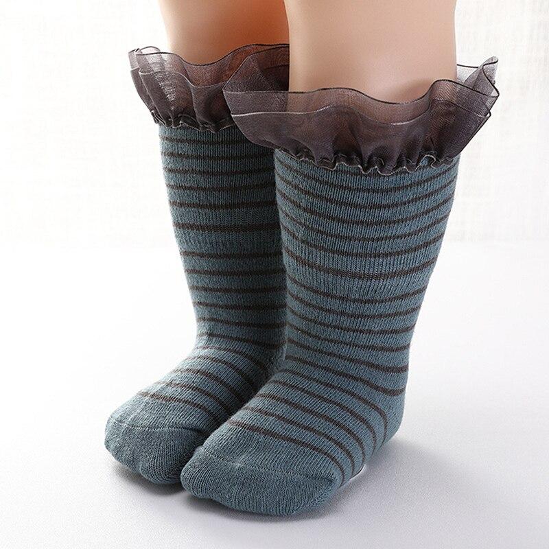 Осенне-зимние детские носки без пятки из чесаного хлопка для девочек милые хлопковые кружевные детские носки в полоску, Новинка
