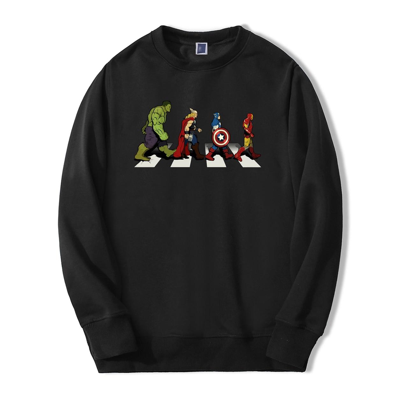 Super Hero Print Sweatshirts Hoodie Avengers Hulk Iron Man Captain America Thro Funny Streetwear 2019 Fashion Fleece Tracksuit