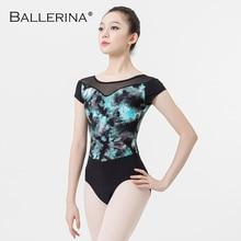 الباليه ملابس رقص الجمباز للنساء ممارسة adulto الجمباز شبكة قصيرة الأكمام الطباعة يوتار راقصة الباليه 3546