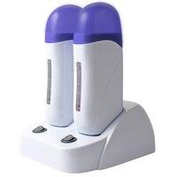 Rolo quente da remoção do cabelo do corpo do calefator depilatório dobro da cera na depilação que encera a máquina beleza do salão de beleza com base do calefator uk plug|Aquecedores de cera| |  -