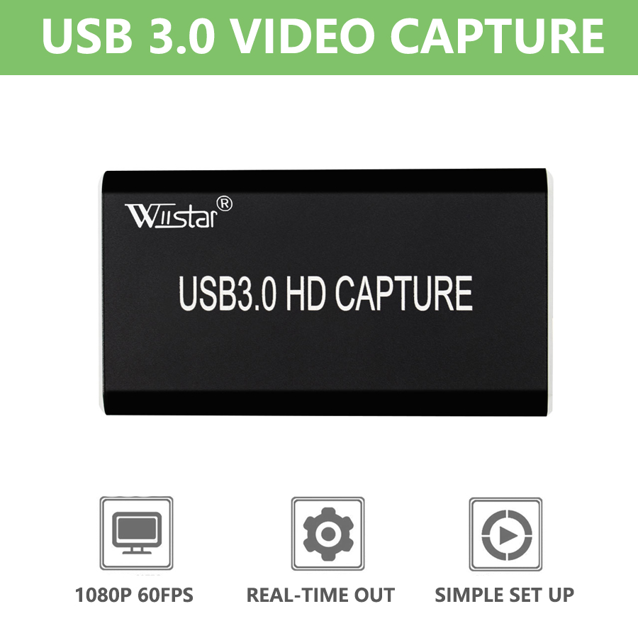 Wiistar USB 3.0 Video Capture HDMI to USB 3.0 1080P HD Video USB Capture Card for PC PS4 Game Live Stream Windows Linux Os