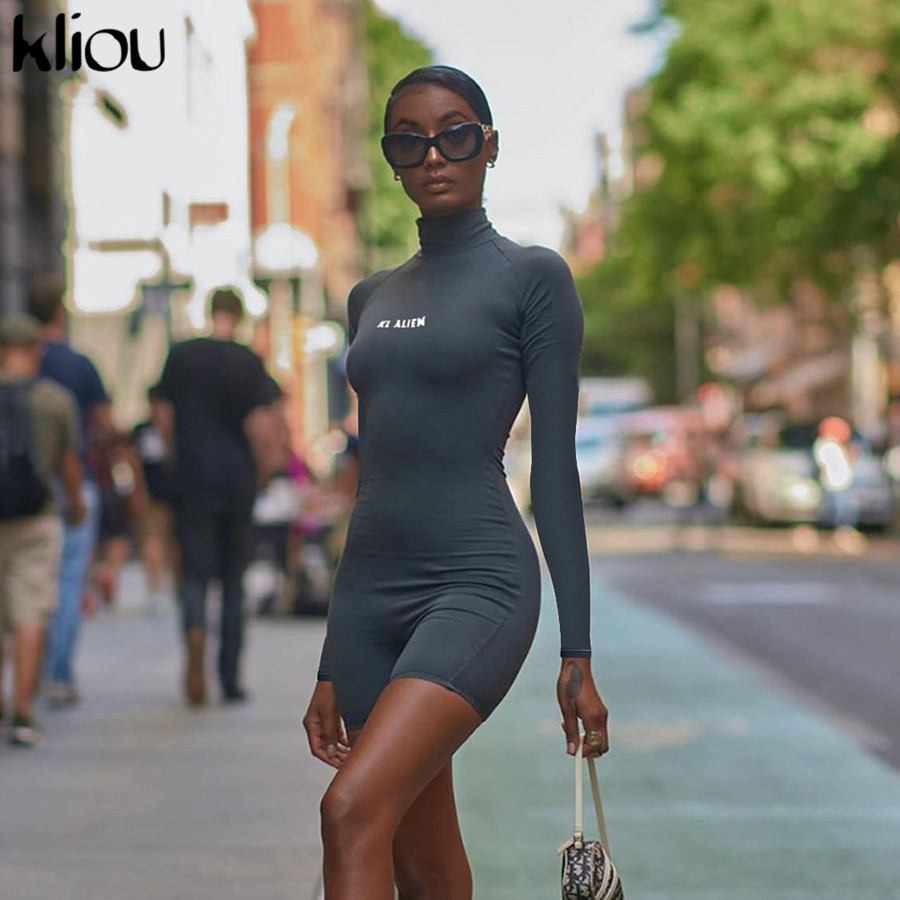 Kliou Women Skinny Playsuit Long Sleeve Turtleneck Romper Body Reflective Letter Print Fitness Overalls Fashion Short Jumpsuit