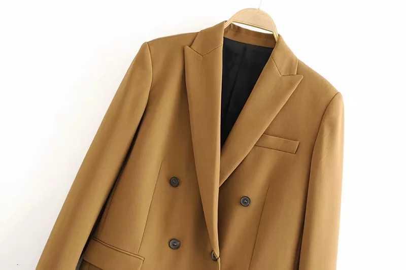 2019 inverno feminino duplo breasted blazer casaco escritório ladt magro elegante jaquetas