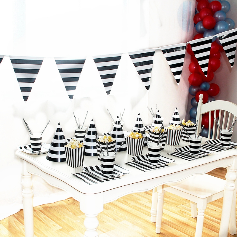 Disposable Black and White Stripe Party Set Cake Popcorn Box Paper Cup Straw Child Birthday Hat Decoration Arrangement Supplie