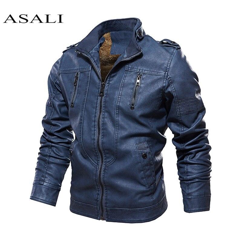 2020 Solid Winter Leather Jacket Men Velvet Thick Warm Casual Moto Biker Jackets Man Pu Motorcycle Bomber Jacket Male Cool Coat