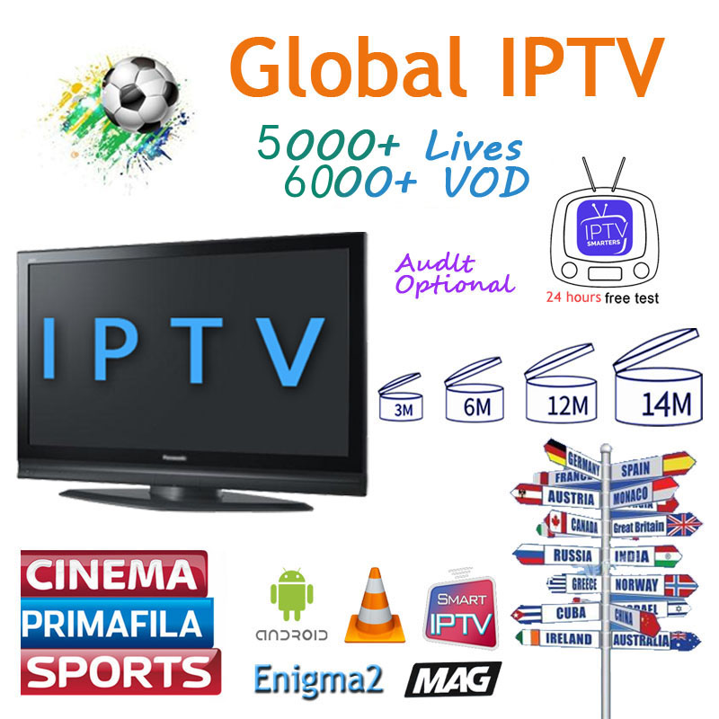 Full  World IPTV 5000 Live 5000 VOD Adult 4K Europe Dutch Israel Spain Germany Itlay Arabic USA IPTV Subscription Ssmart TV M3U
