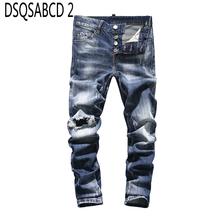 Europejski amerykański znane markowe dżinsy męskie dopasowane dżinsy proste dżinsy z guzikami spodnie niebieska w stylu casual punk style dżinsy z dziurami dla mężczyzn 8003 tanie tanio DSQSABCD 2 Przycisk fly light Szczupła Smart Casual Midweight Pełnej długości Denim Niskie Otwór Patchwork Jeans Mężczyźni