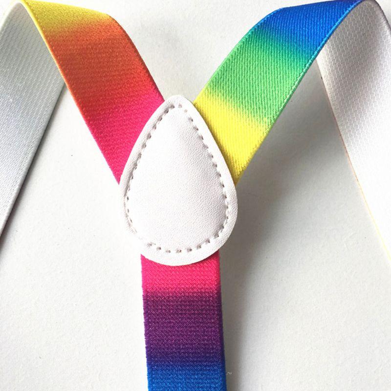 Fashion Personality Strap Belts Unisex Adult Straps Clip Rainbow Print Adjustable Suspender Belt 875B