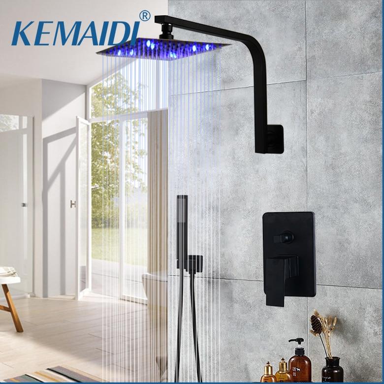 KEMAIDI Bathroom Shower Combo Set Wall Mount Shower System Bathroom Rainfall Shower Head Rain Mixer Shower Combo Set Matte Black