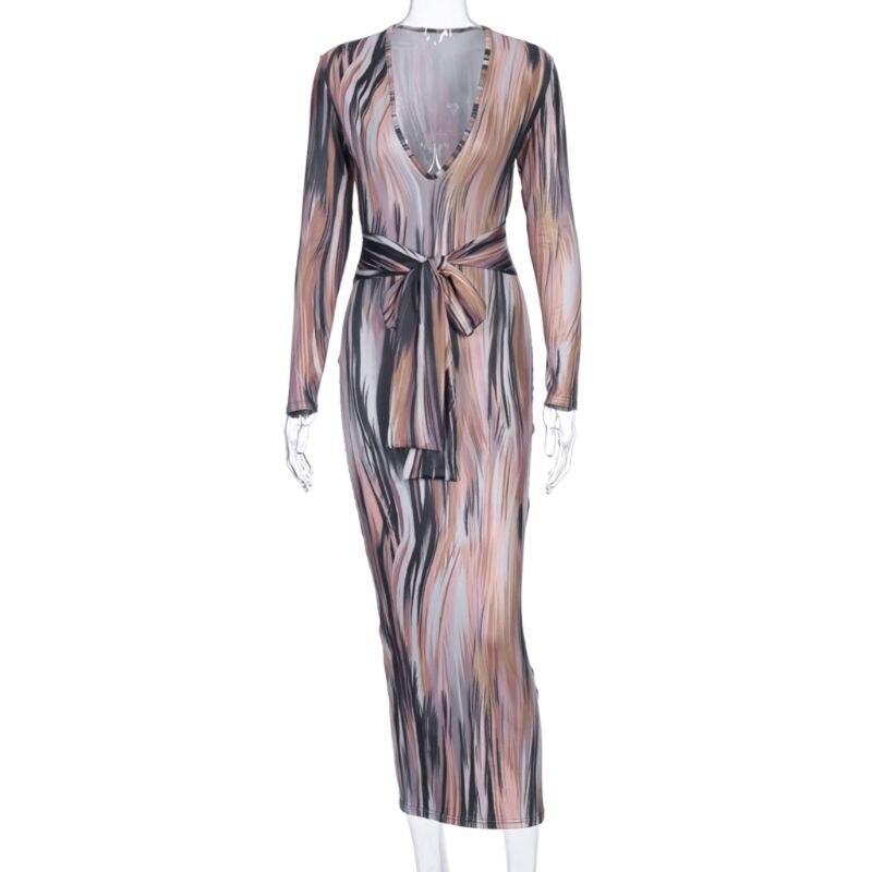 2020 Long Sleeve Print V-Neck Bandage Sexy Long Bodycon Dress Women Belted Party Elegant Streetwear Clubwear Maxi Dress