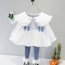 Meninas princesa 2 pçs conjunto de roupas do bebê crianças primavera manga longa xadrez arco vestidos-camisa topos + rendas jeans pant outfit s11908