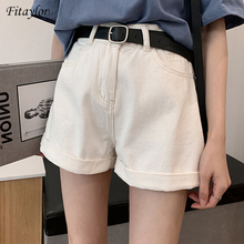 Denim Shorts Vintage High-Waist Streetwear Wide-Leg Black Blue Women Casual Fitaylor