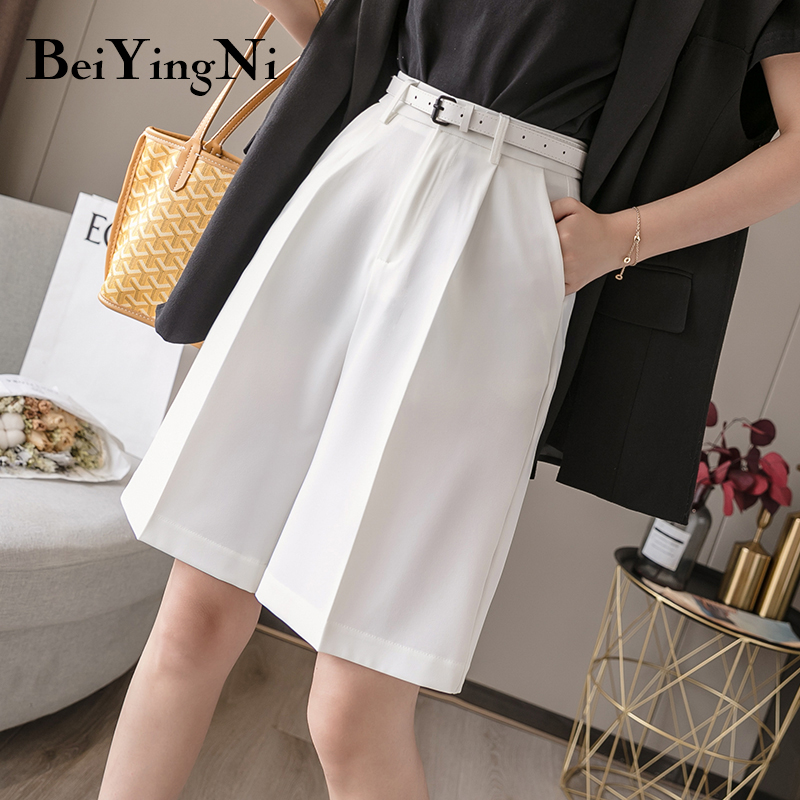 Beiyingni 2020 Suit Shorts Female Solid Color Belted Vintage Classic Korean Style Blazer Shorts Women Bottom Loose Plus Size