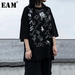 Женская футболка с круглым вырезом EAM, черная футболка с принтом и коротким рукавом, большие размеры, весна-лето 2020, 1W239