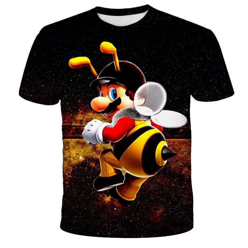 Летние рубашки с принтом Марио в 3D для детей и девочек, летние рубашки, верхняя одежда для детей, неформальная рубашка для детей