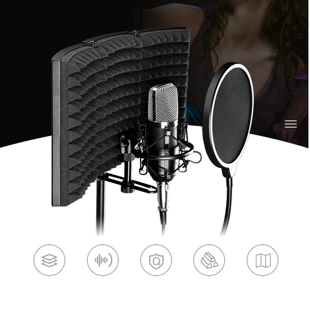 Foldable Microphone Isolation Shield Adjustable Studio Recording Studio Isolator Foam Acoustic Panels Noise-Absorbing Enclosure