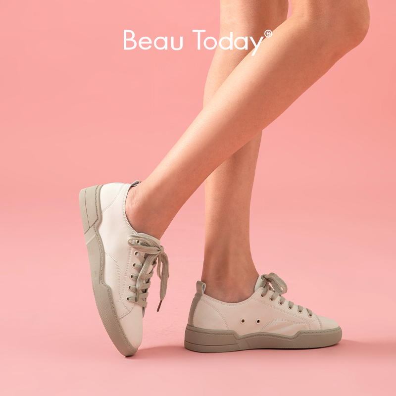 BeauToday White Sneakers Women Genuine Cow Leather Round Toe Lace-Up Closure Spring Autumn Lady Casual Flat Shoes Handmade 29067