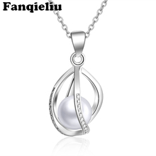цена на Fanqieliu Hollow Out Pendants Freshwater Pearl Necklace Womens 925 Sterling Silver Necklaces Pendant Necklace For Women FQL20158