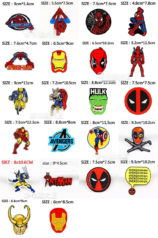 Big Size <font><b>ironman</b></font> batman superman hulk Spider-Man dead pool <font><b>Patches</b></font> Embroidered Clothes <font><b>Patch</b></font> For Clothing bags image